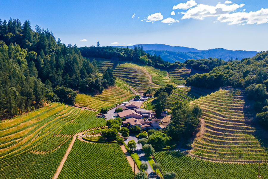 Pine Ridge Vineyards estate taken from above by drone
